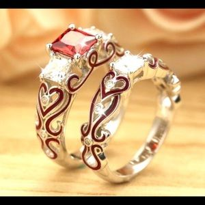 White Gold Ruby and Zircon embellished rings size7